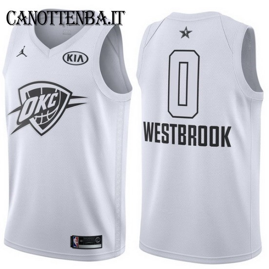 Maglia NBA 2018 All Star NO.0 Russell Westbrook Bianco