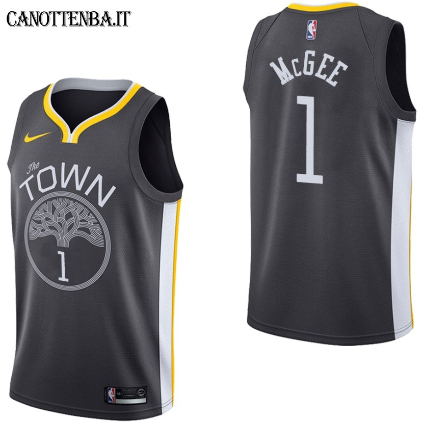 Maglia NBA Golden State Warriors NO.1 JaVale McGee Nero Statement 2017-18