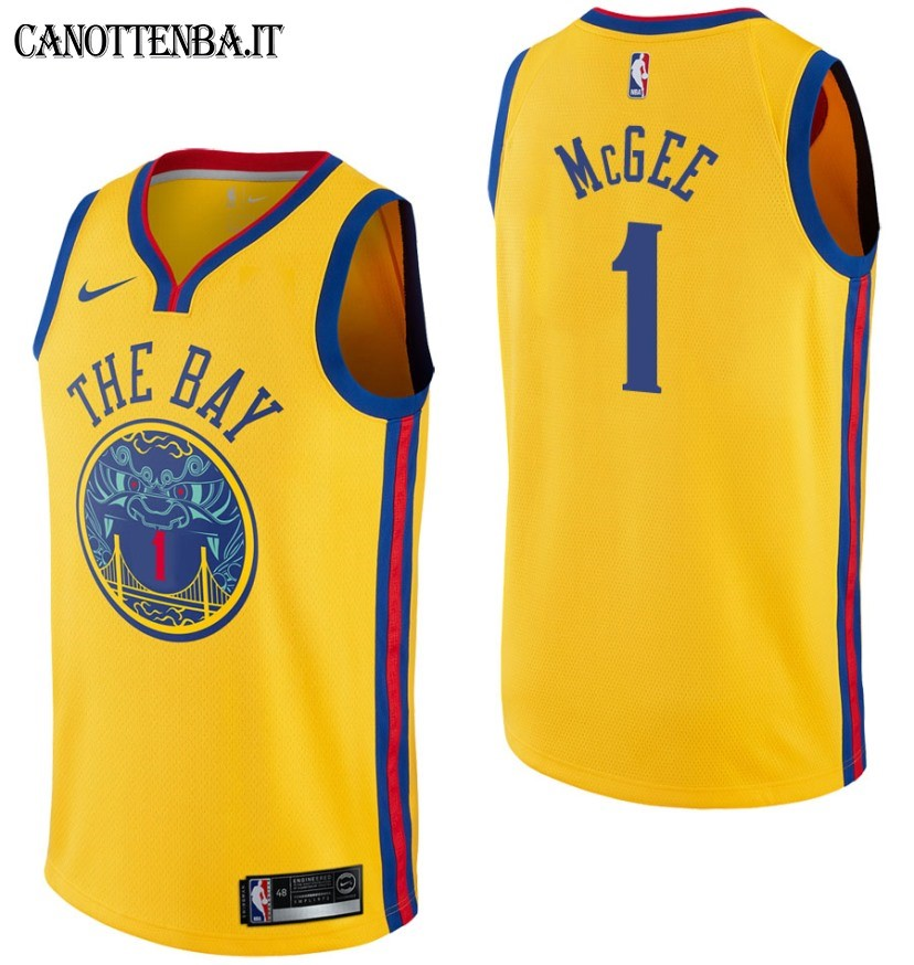 Maglia NBA Golden State Warriors NO.1 JaVale McGee Nike Giallo Città 2017-18