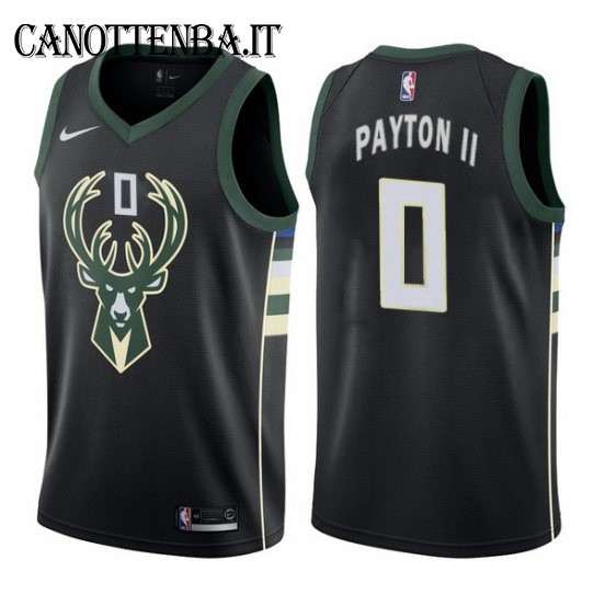 Maglia NBA Milwaukee Bucks NO.0 Gary Payton II Nero Statement 2017-18