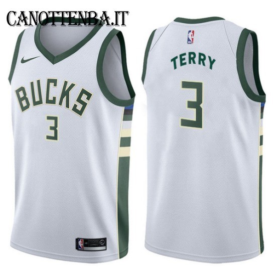 Maglia NBA Milwaukee Bucks NO.3 Jason Terry Bianco Association 2017-18