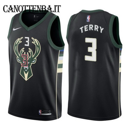 Maglia NBA Milwaukee Bucks NO.3 Jason Terry Nero Statement 2017-18