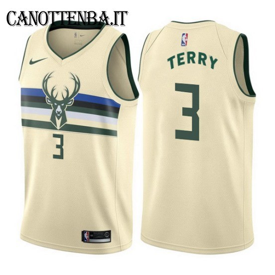 Maglia NBA Milwaukee Bucks NO.3 Jason Terry Nike Crema Città 2017-18