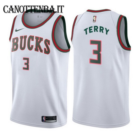 Maglia NBA Milwaukee Bucks NO.3 Jason Terry Retro Bianco 2017-18