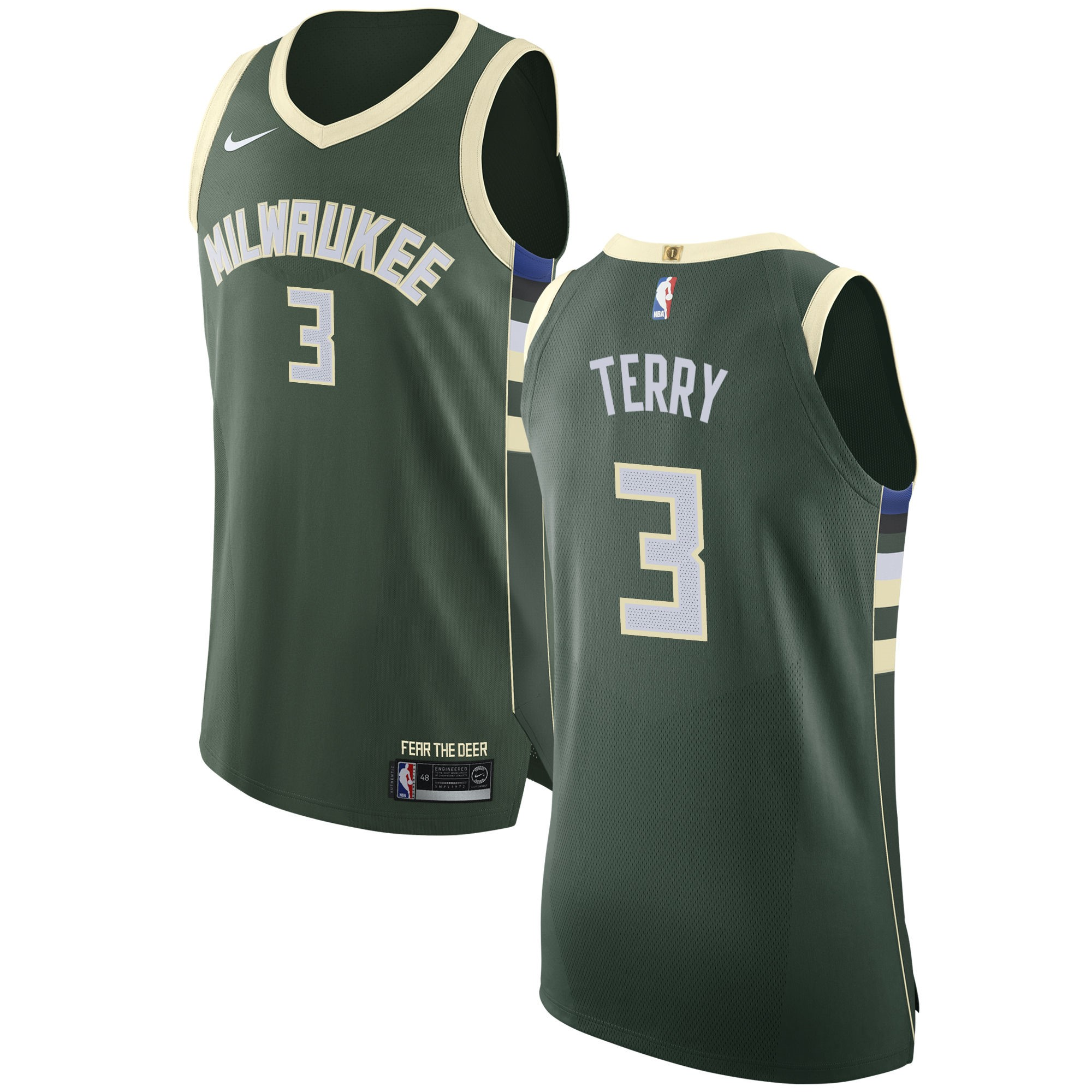 Maglia NBA Milwaukee Bucks NO.3 Jason Terry Verde Icon 2017-18