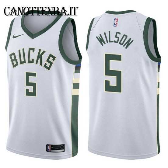 Maglia NBA Milwaukee Bucks NO.5 D.J. Wilson Bianco Association 2017-18