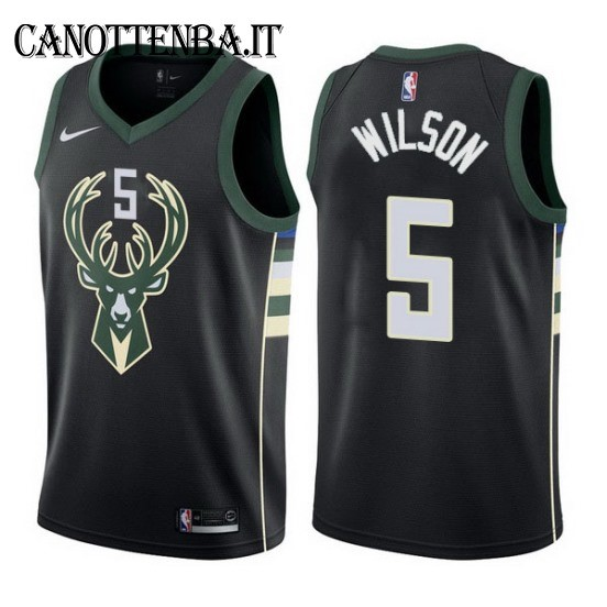 Maglia NBA Milwaukee Bucks NO.5 D.J. Wilson Nero Statement 2017-18