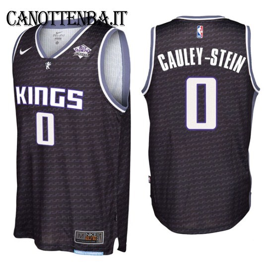 Maglia NBA Sacramento Kings NO.0 Willie Cauley Stein Nero 2017-18