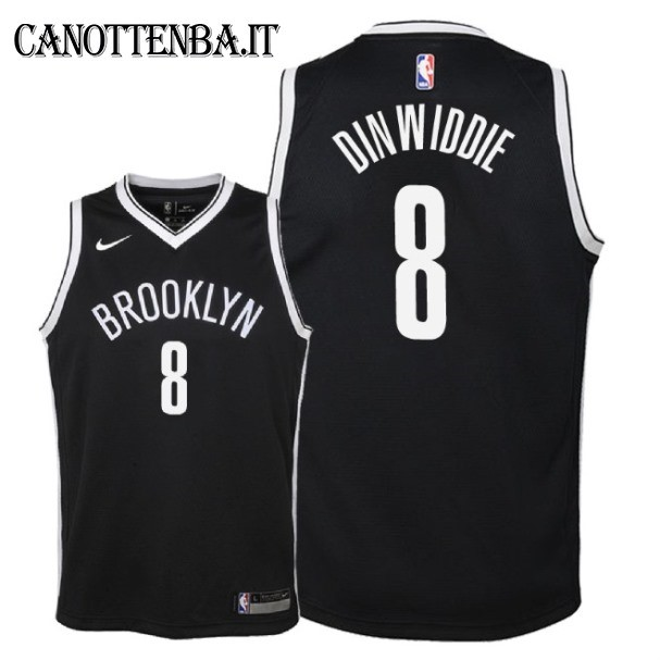 Maglia NBA Bambino Brooklyn Nets NO.8 Spencer Dinwiddie Nero Icon 2018