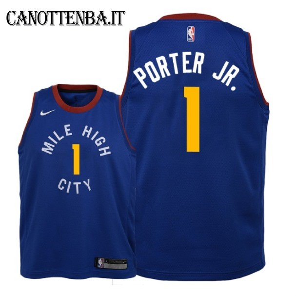 Maglia NBA Bambino Denver Nuggets NO.1 Michael Porter Jr Azul Statement 2018-19
