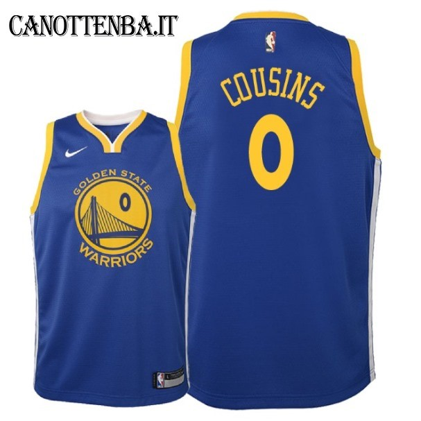 Maglia NBA Bambino Golden State Warriors NO.0 DeMarcus Cousins Azul Icon 2018