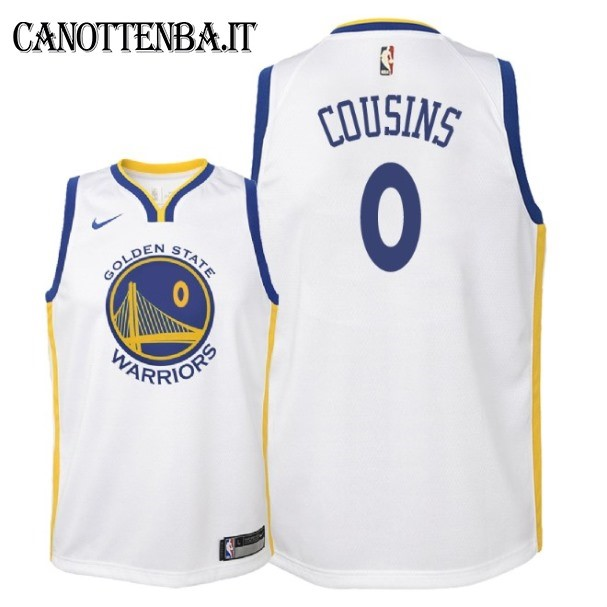 Maglia NBA Bambino Golden State Warriors NO.0 DeMarcus Cousins Bianco Association 2018