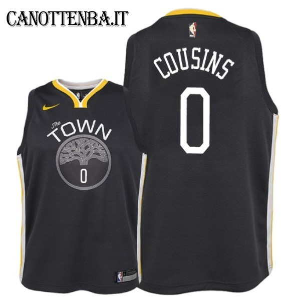 Maglia NBA Bambino Golden State Warriors NO.0 DeMarcus Cousins Nero Statement 2018