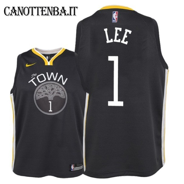 Maglia NBA Bambino Golden State Warriors NO.1 Damion Lee Nero Statement 2018