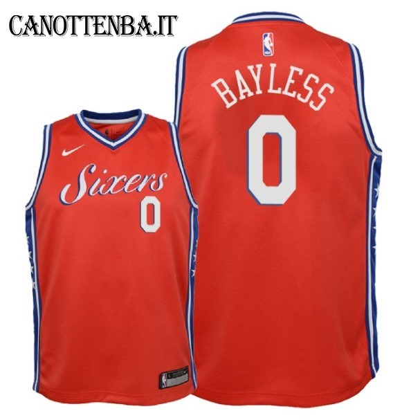 Maglia NBA Bambino Philadelphia Sixers NO.0 Jerryd Bayless Rosso Statement 2018