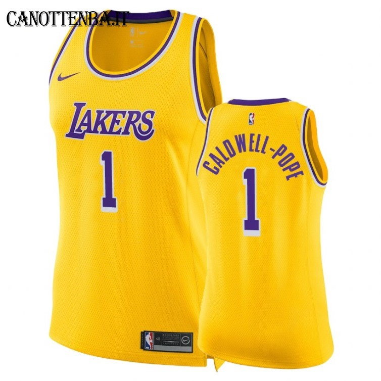 Maglia NBA Donna Los Angeles Lakers NO.1 Kentavious Caldwell Pope Giallo Icon 2018-19