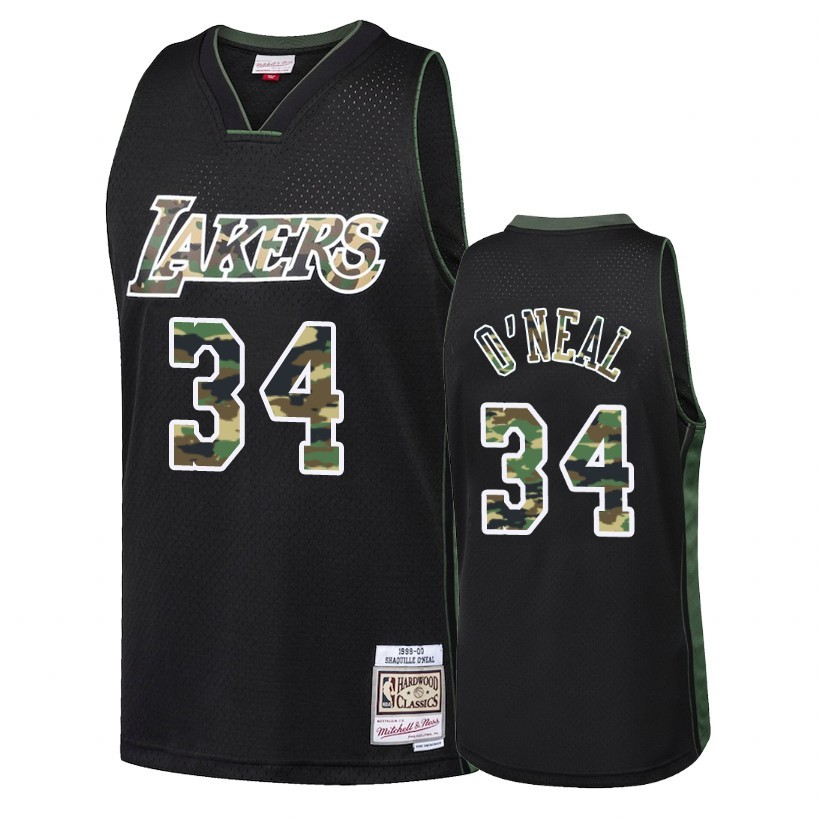 Maglia NBA Dritto Fire Camo Los Angeles Lakers NO.34 Shaquille O'Neal Nero 2018