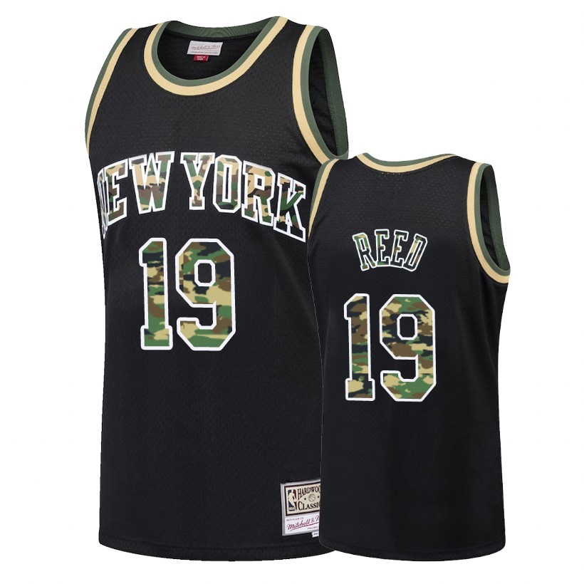 Maglia NBA Dritto Fire Camo New York Knicks NO.19 Willis Reed Nero 2018