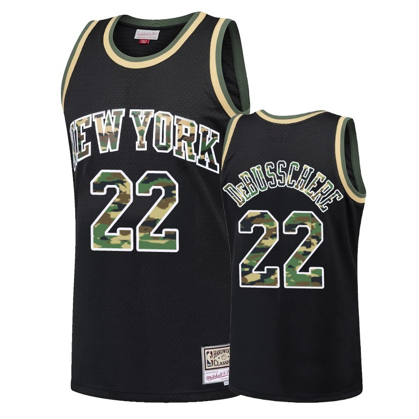 Maglia NBA Dritto Fire Camo New York Knicks NO.22 Dave DeBusschere Nero 2018