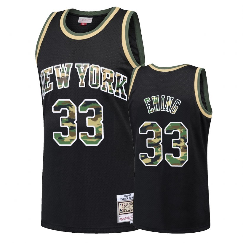 Maglia NBA Dritto Fire Camo New York Knicks NO.33 Patrick Ewing Nero 2018