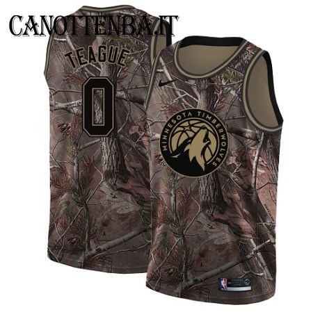 Maglia NBA Minnesota Timberwolves NO.0 Jeff Teague Camo Swingman Realtree Collection 2018