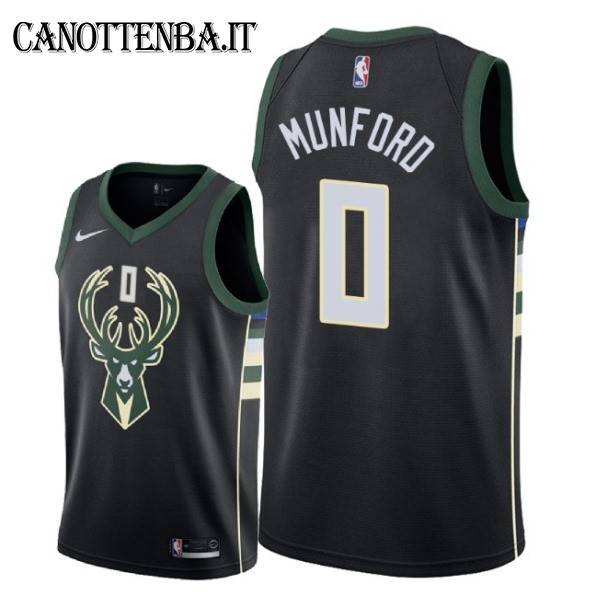 Maglia NBA Nike Milwaukee Bucks NO.0 Xavier Munford Nero Statement 2018