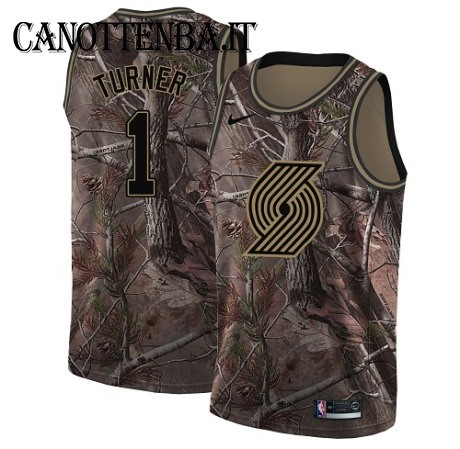 Maglia NBA Portland Trail Blazers NO.1 Evan Turner Camo Swingman Realtree Collection 2018