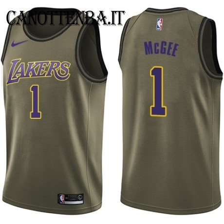 Maglia NBA Salute Per Servizio Los Angeles Lakers NO.1 Javale McGee Nike Army Green 2018