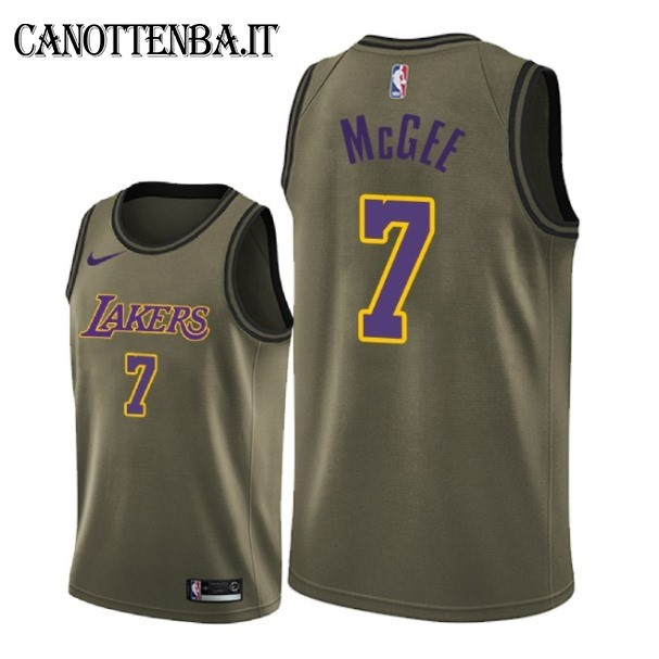Maglia NBA Salute Per Servizio Los Angeles Lakers NO.7 JaVale McGee Nike Army Green 2018