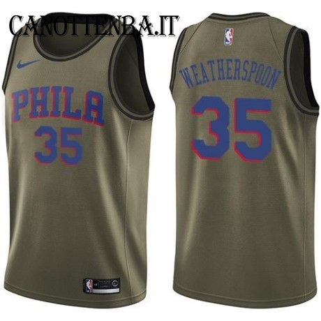 Maglia NBA Salute Per Servizio Philadelphia Sixers NO.35 Clarence Weatherspoon Nike Army Green 2018