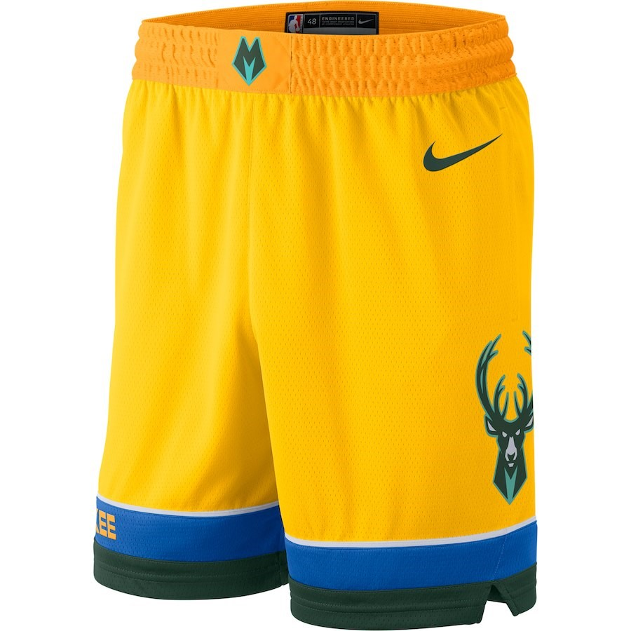 Pantaloni Basket Milwaukee Bucks Nike Giallo Città 2018-19