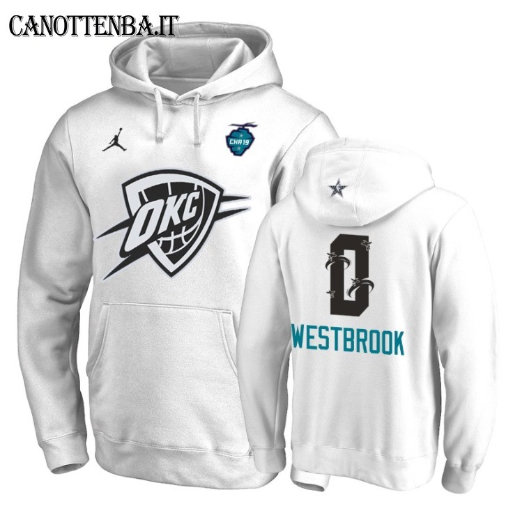 Felpe Con Cappuccio 2019 All Star Oklahoma City Thunder NO.0 Russell Westbrook Bianco