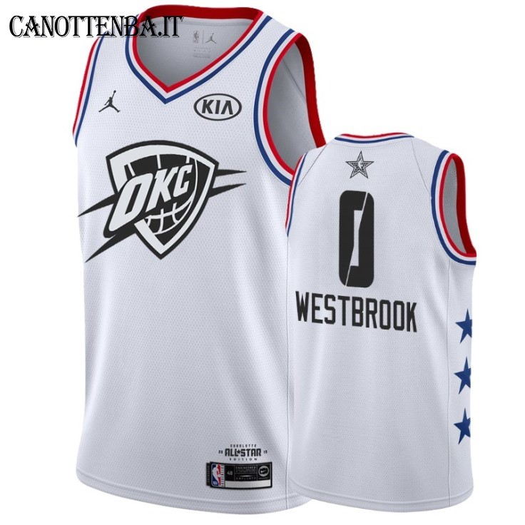 Maglia NBA 2019 All Star NO.0 Russell Westbrook Bianco