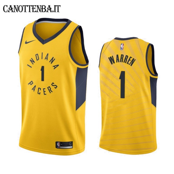 Maglia NBA Nike Indiana Pacers NO.1 T.J. Warren Gray Giallo Statement 2019-20