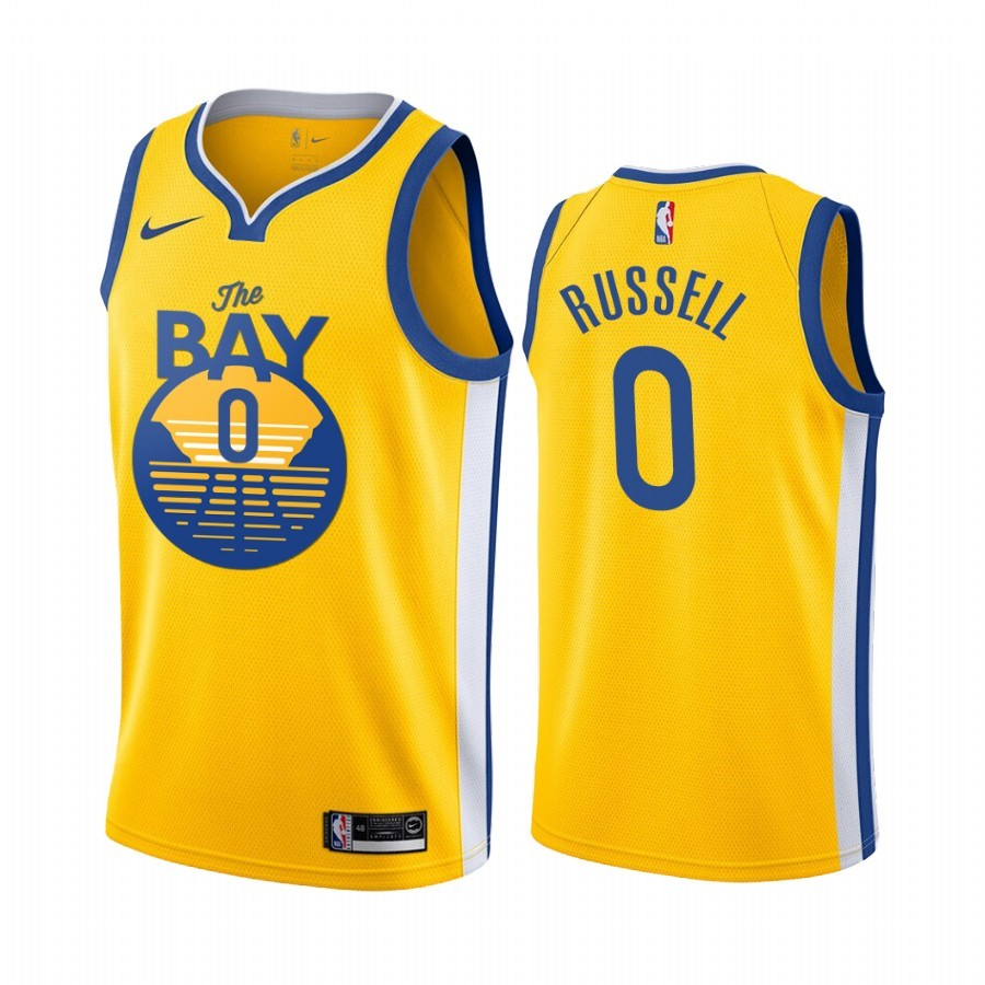 Maglia NBA Nike Golden State Warriors NO.0 D'Angelo Russell Giallo Città 2019-20