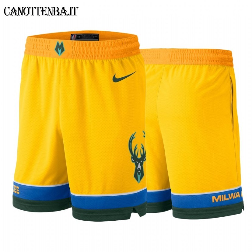 Pantaloni Basket Milwaukee Bucks Nike Giallo