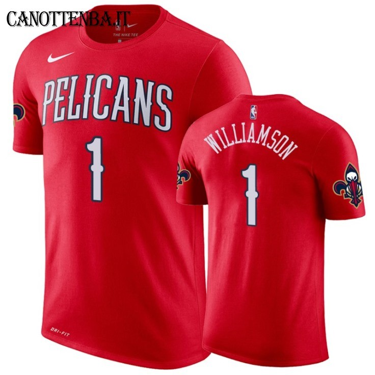 T Shirt NBA New Orleans Pelicans Zion Williamson Rosso Statement