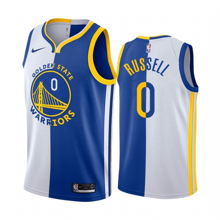 Maglia NBA Nike Golden State Warriors NO.0 D'Angelo Russell Azul Bianco Split Edition 2019-20