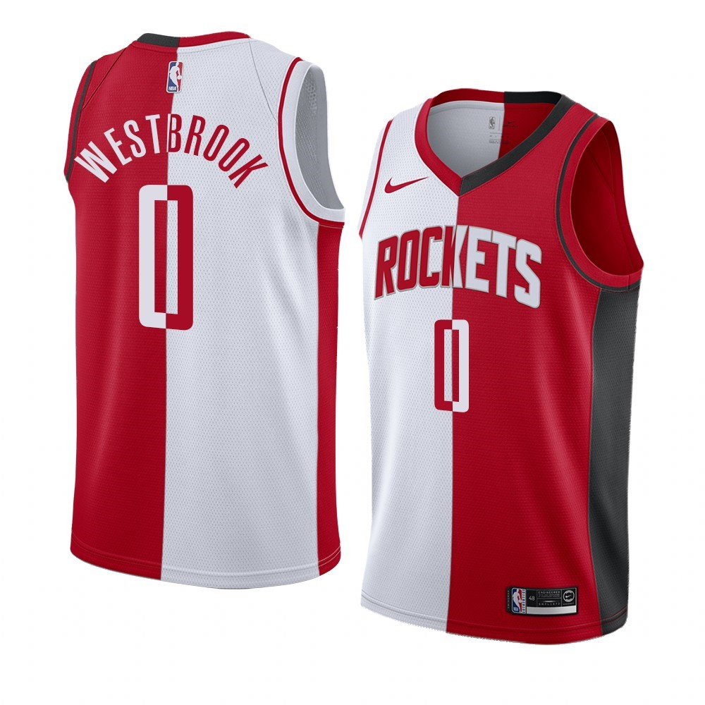 Maglia NBA Nike Houston Rockets NO.0 Russell Westbrook Rosso Bianco Split Edition