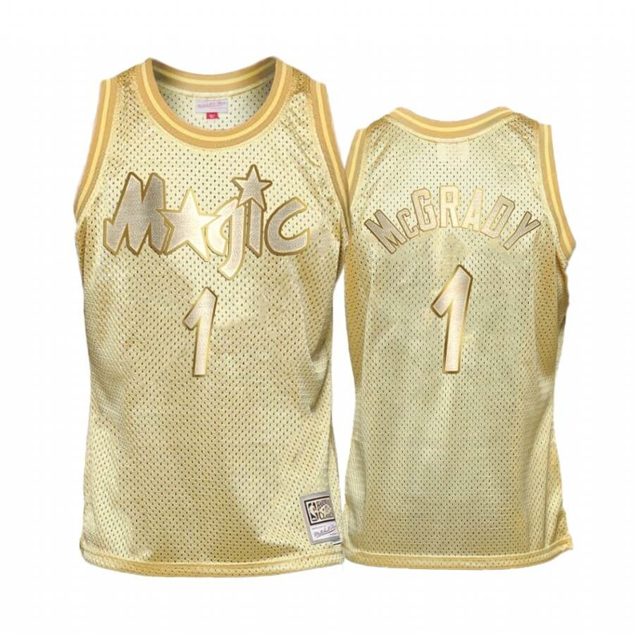 Maglia NBA Bambino Orlando Magic Midas NO.1 Tracy Mcgrady Oro Hardwood Classics