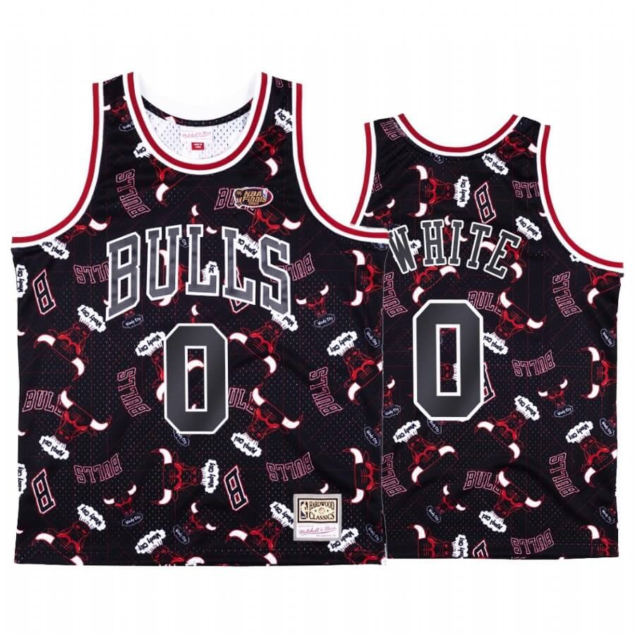 Maglia NBA Chicago Bulls Tear Up Pack NO.0 Coby White Nero Hardwood Classics