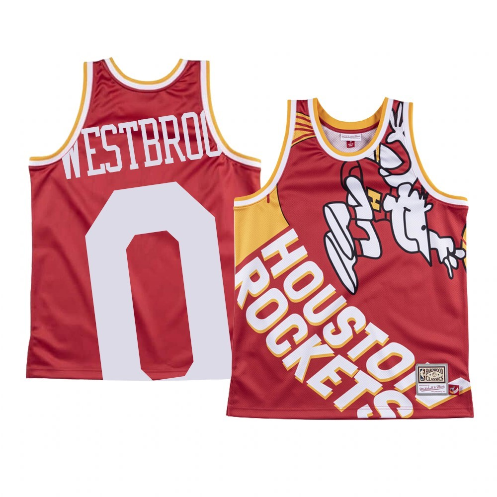 Maglia NBA Houston Rockets Big Face NO.0 Russell Westbrook Rosso
