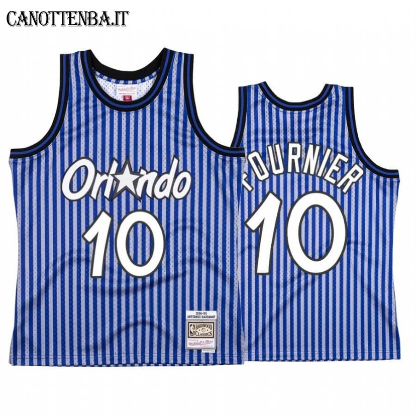 Maglia NBA Orlando Magic Independence Day NO.10 Evan Fournier Blu Hardwood Classics