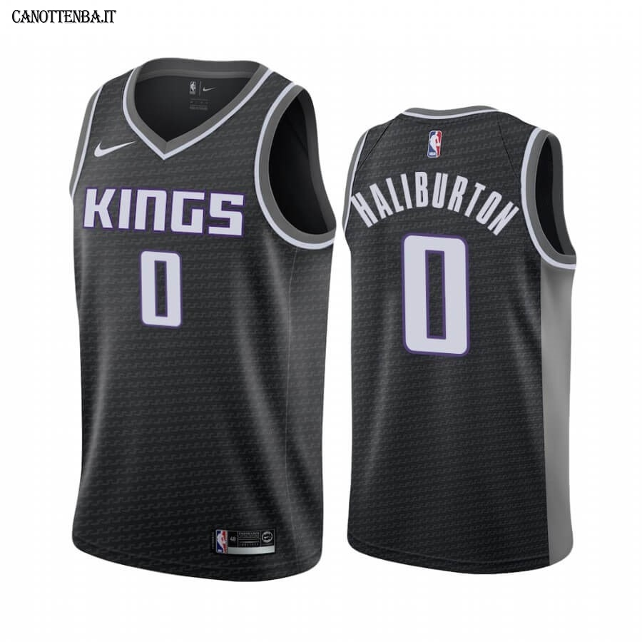 Maglia NBA Nike Sacramento Kings NO.0 Tyrese Haliburton Nero Statement 2020-21