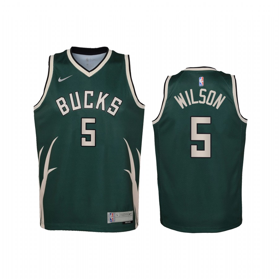 Maglia NBA Bambino Earned Edition Milwaukee Bucks NO.5 D.J. Wilson Verde 2021