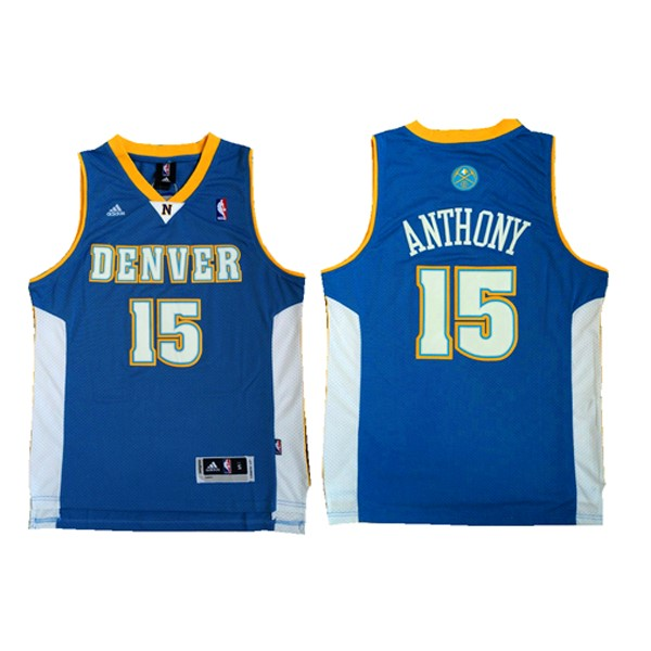 Maglia NBA Denver Nuggets NO.15 Carmelo Anthony Retro Azul