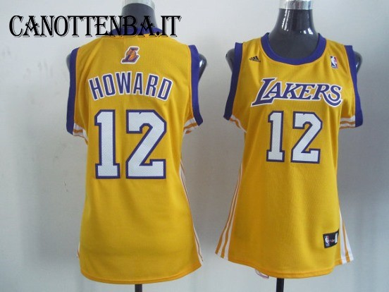 Maglia NBA Donna Los Angeles Lakers NO.12 Dwight Howard Giallo