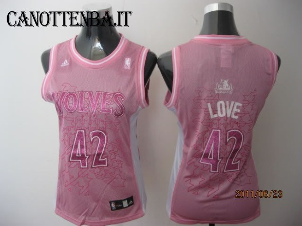 Maglia NBA Donna Minnesota Timberwolves NO.42 Kevin Love Rosa