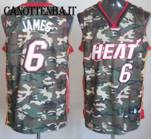 Maglia NBA 2013 Camouflage Moda NO.6 James
