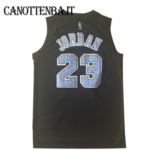 Maglia NBA Chicago Bulls NO.23 Michael Jordan Nero Diamante